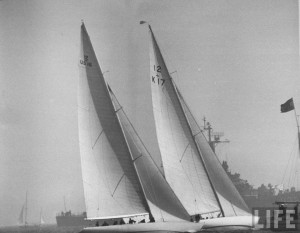 K 17 - Sceptre seen here leading US 16 - Columbia during the 17th America's Cup.