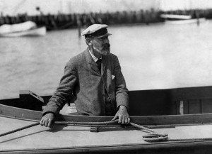 A photograph from the Edwin Levick Collection, taken by Edwin Levick, of boat designer Nathanael Greene Herreshoff.