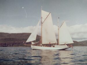 Gaff ketch Owl sailing in Scotland