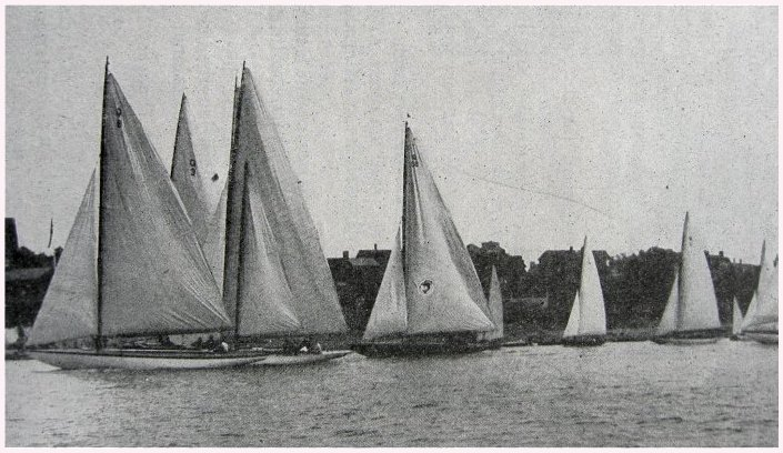Q Class yachts starting off the Corinthian Yacht Club at Marblehead circa 1929
