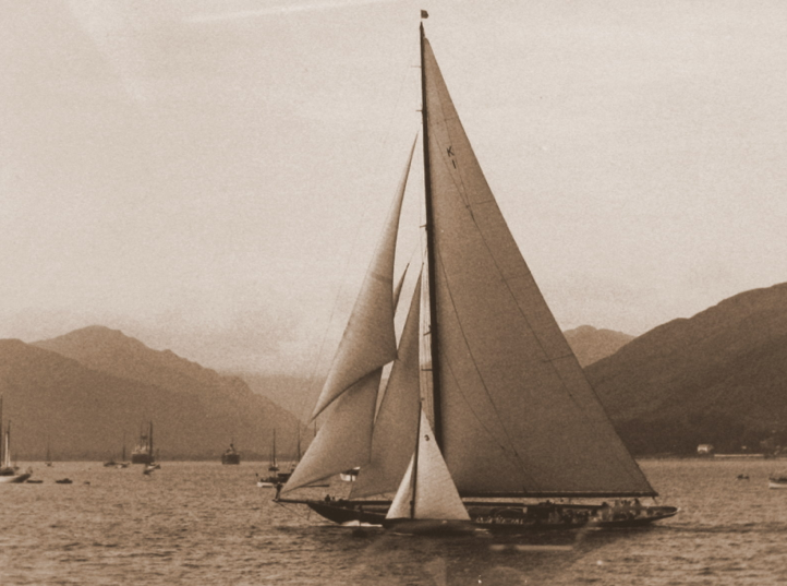 Bernera alongside the King's yacht Britannia on the Holy Loch during a Clyde Fortnight in the early 1930's