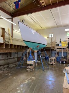 Centre Harbor 31 yacht shored up in Rockport Marine shipyard